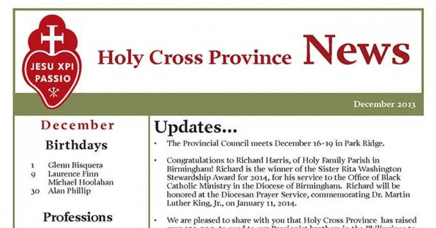 Holy Cross Province publishes December 2013 Newsletter