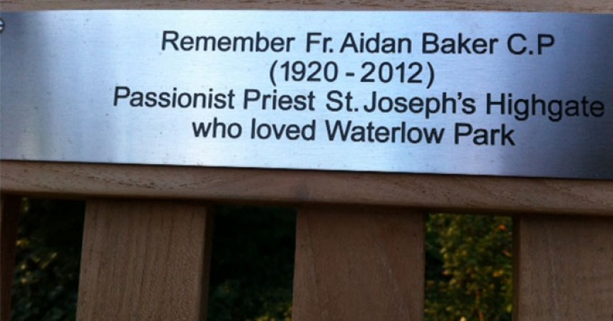 A Park Bench is dedicated to Fr. Aidan Baker, C.P.