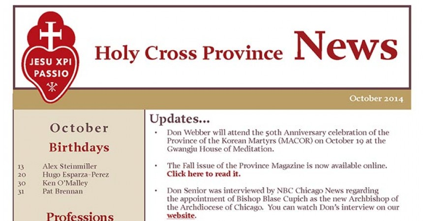 New Edition of Holy Cross Province News