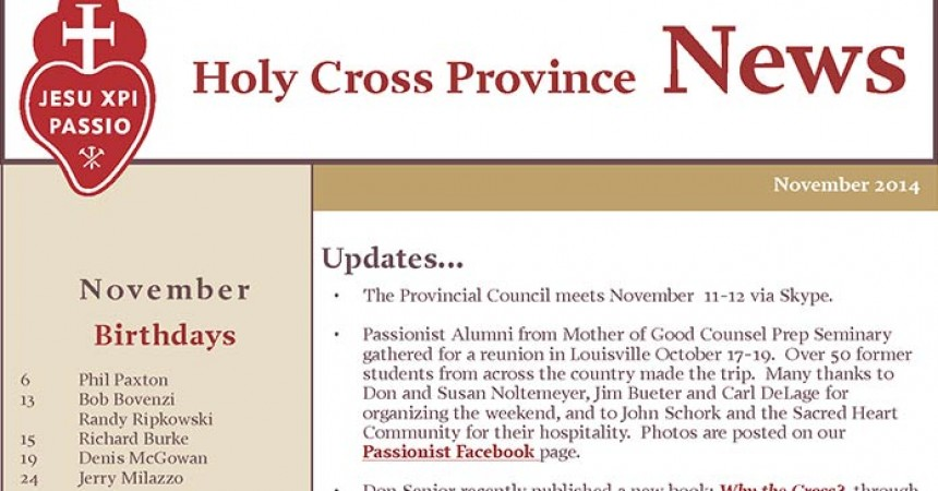 "New Edition of ""Holy Cross Province News"""