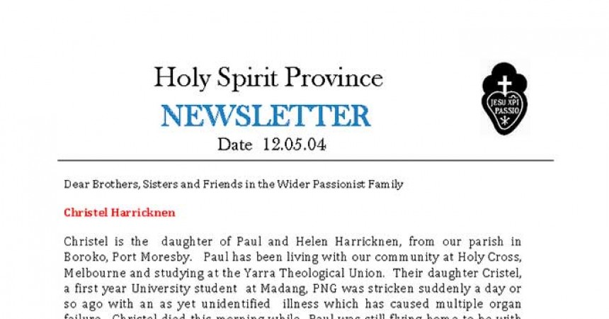 New Edition of the Province of the Holy Spirit Newsletter