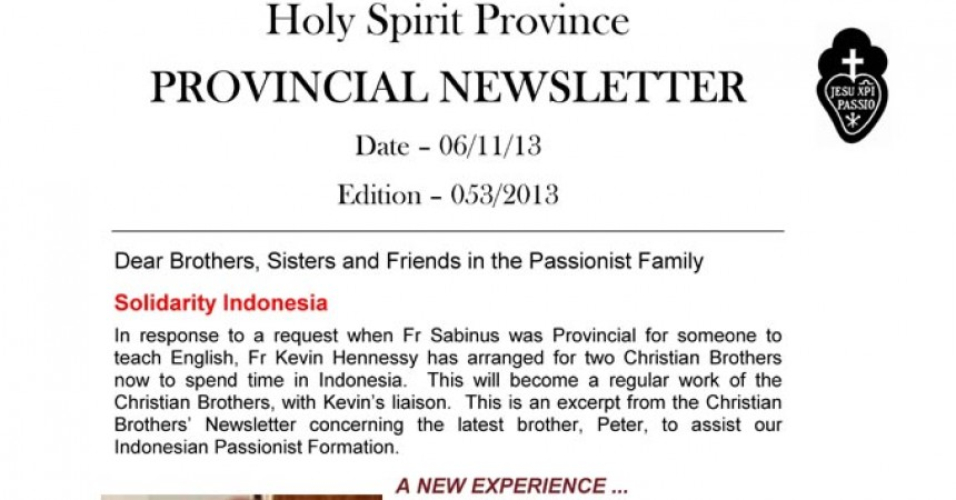 New Editions of Holy Spirit Province Newsletter