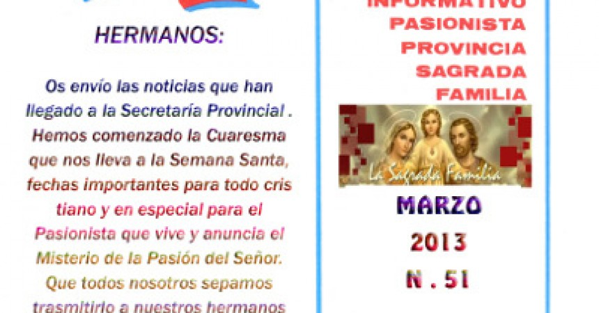 The new Bulletin of the Holy Family Province (Spain) – March 2013
