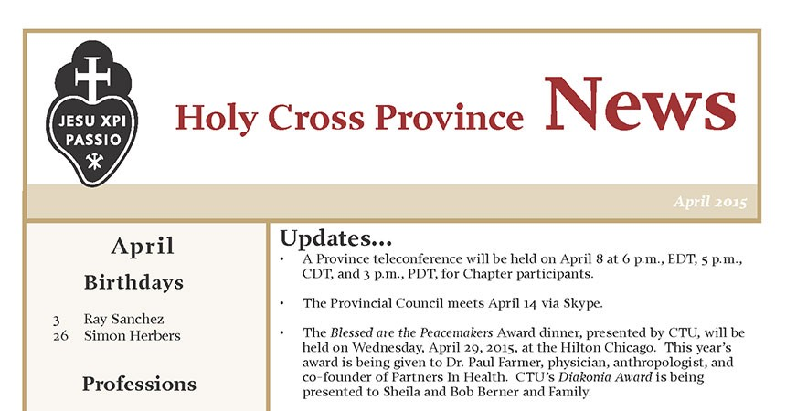 Newsletter of Holy Cross Province