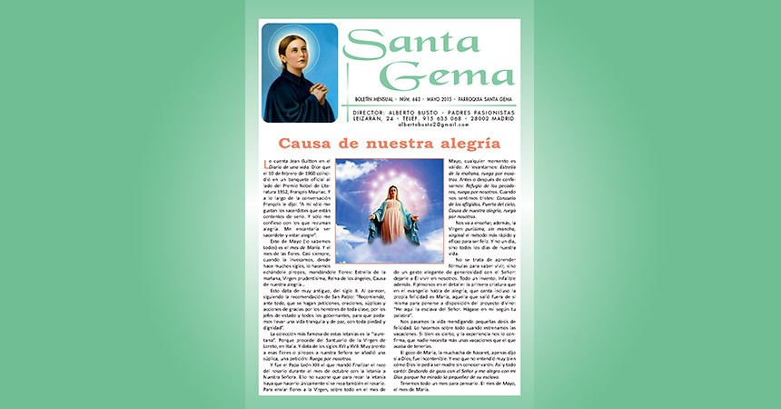 "New Edition of the online magazine: ""Santa Gema"""