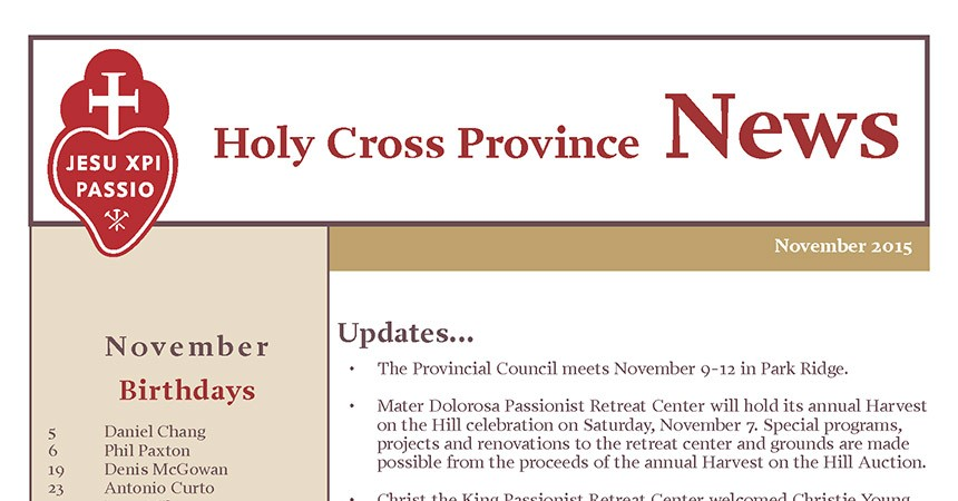 "New Edition of the Newsletter: ""Holy Cross"""