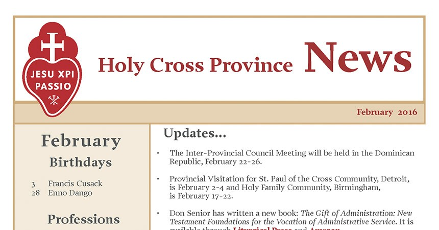 "New Edition of the ""Holy Cross Province Newsletter"""