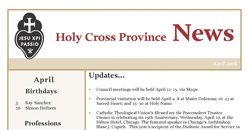Bollettino della Provincia di «Holy Cross»