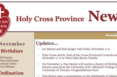 """New Edition of the """"Holy Cross Province Newsletter"""""""