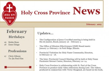 February edition of the Holy Cross Province Newsletter (CRUC-CJC)