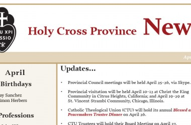 April edition of the Holy Cross Province Newsletter (CRUC-CJC)
