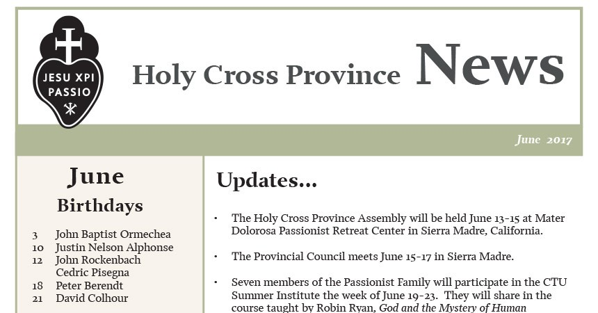 June edition of the Holy Cross Province Newsletter (CRUC-CJC)