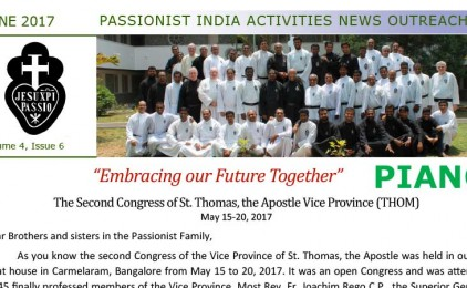 """New Edition of the Newsletter of the Vice Province of St. Thomas (THOM), """"PIANO"""""""