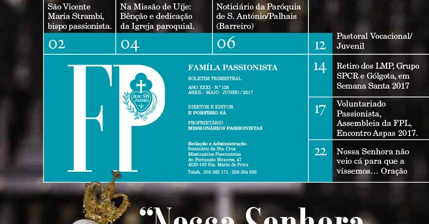 """Boletín """"Familia Pasionista"""" de los Pasionistas en Portugal – Abril – Maio – Junho 2017"""