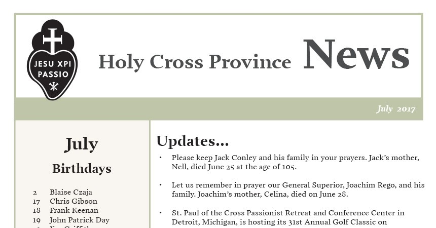 July edition of the Holy Cross Province Newsletter (CRUC-CJC)