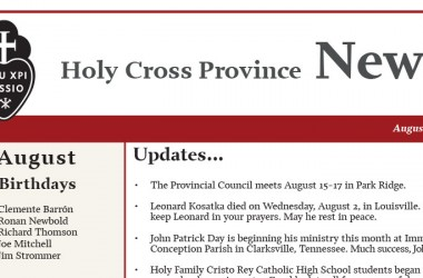 August edition of the Holy Cross Province Newsletter (CRUC-CJC)
