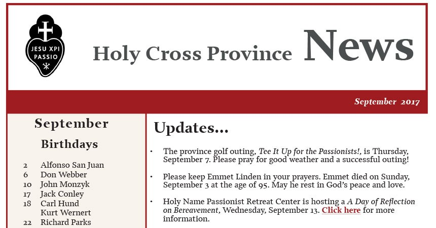 Newsletter CRUC Province (September 2017)