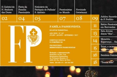 "Boletim ""FAMILÍA PASSIONISTA""<br>Julho – Agosto – Setembro 2017"