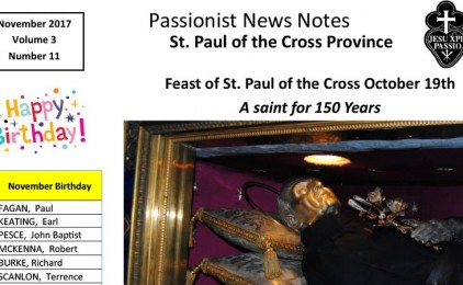 PASSIONIST NEWS NOTES<br>November 2017