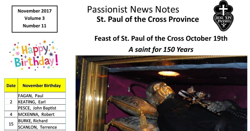 PASSIONIST NEWS NOTES<br />November 2017