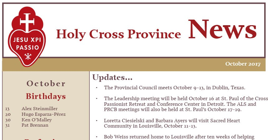 Newsletter CRUC Province (October 2017)