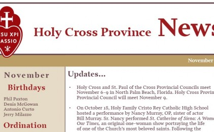 November edition of the Holy Cross Province Newsletter (CRUC-CJC)