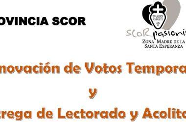 Renovación de Votos Temporales y<br>Entrega de Lectorado y Acolitado