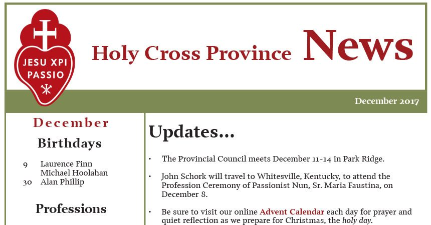 December 2017 edition of the HOLY CROSS PROVINCE NEWSLETTER (CRUC-CJC)