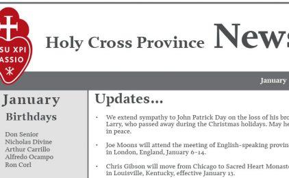 HOLY CROSS PROVINCE NEWSLETTER (CRUC-CJC)<br>January 2018