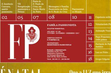 """Boletim """"FAMILÍA PASSIONISTA""""<br>Outubro – Novembro – Dezembro 2017"""