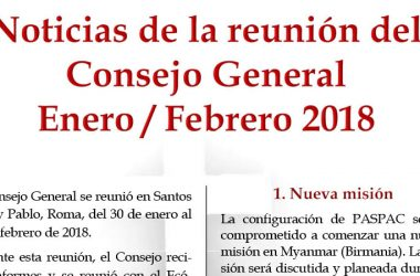 Noticias de la reunión del Consejo General<br>Enero – Febrero 2018
