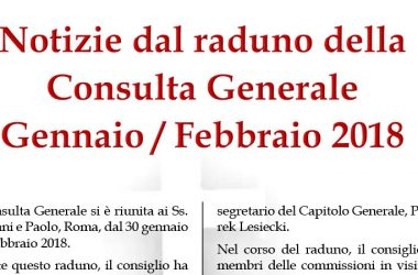 Notizie del raduno della Consulta Generale<br>Gennaio / Febbraio 2018