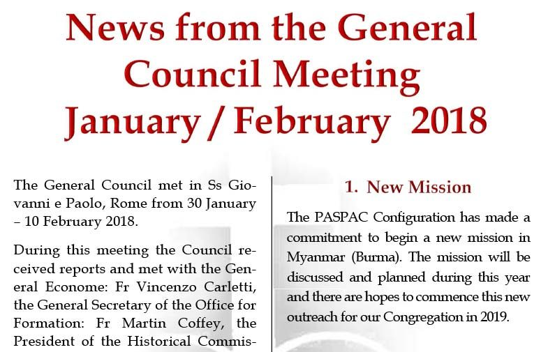 News from the General Council Meeting<br>January – February 2018