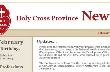 HOLY CROSS PROVINCE NEWSLETTER (CRUC-CJC)<br>February 2018