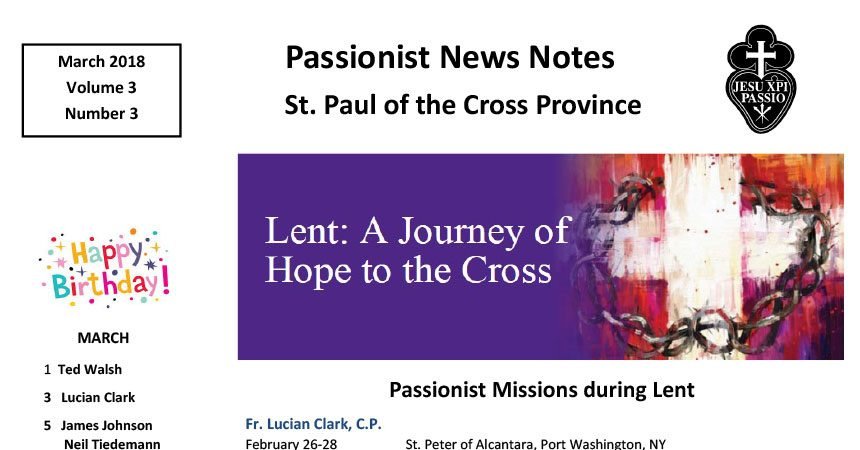 PASSIONIST NEWS NOTES<br>March 2018