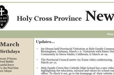 HOLY CROSS PROVINCE NEWSLETTER (CRUC-CJC)<br>March 2018