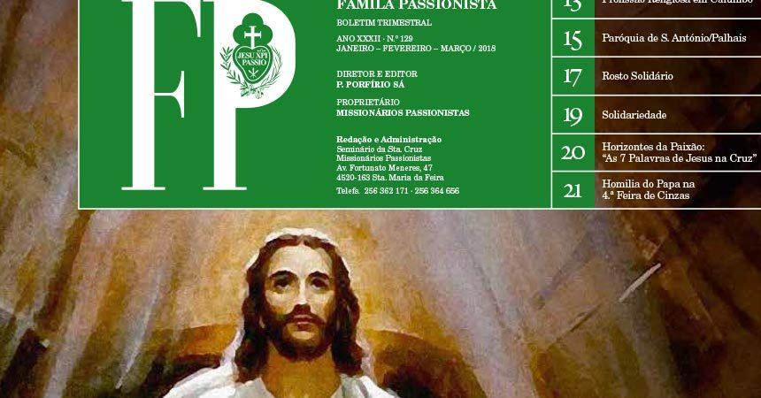 """Boletín """"FAMÍLA PASSIONISTA"""" de los Passionistas en Portugal<br>Janeiro – Fevereiro – Março 2018"""