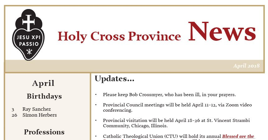 HOLY CROSS PROVINCE NEWSLETTER (CRUC – CJC)<br>April 2018
