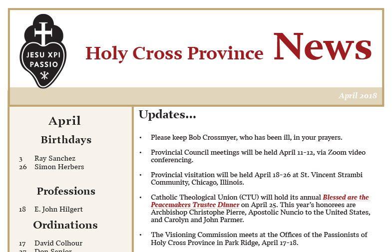 HOLY CROSS PROVINCE NEWS<br>April 2018