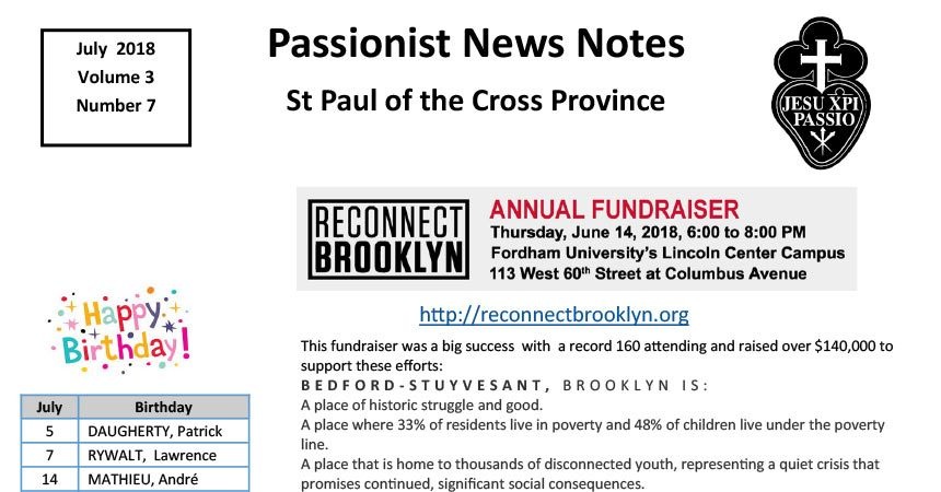 PASSIONIST NEWS NOTES<br>July 2018
