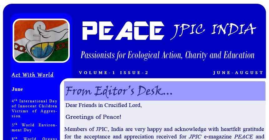 """PEACE"" JPIC INDIA<br>June – August 2018"