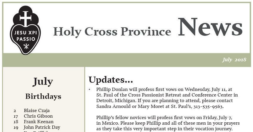 HOLY CROSS PROVINCE NEWSLETTER (CRUC-CJC)<br>July 2018