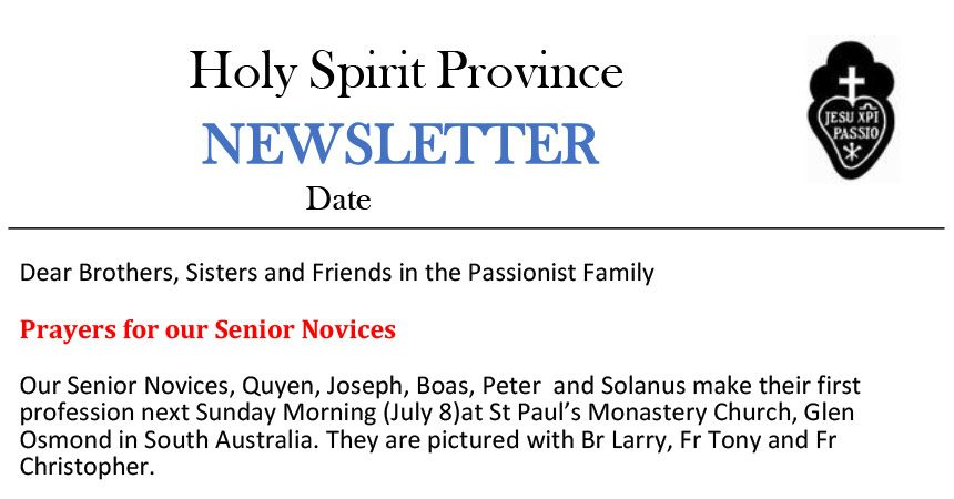 Holy Spirit Province NEWSLETTER<br>June 2018