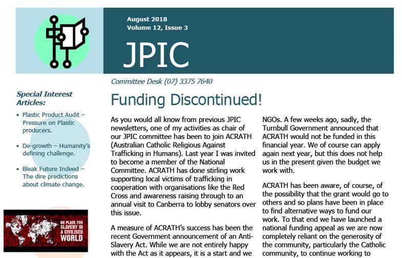 Passionist JPIC Australia<br>August 2018