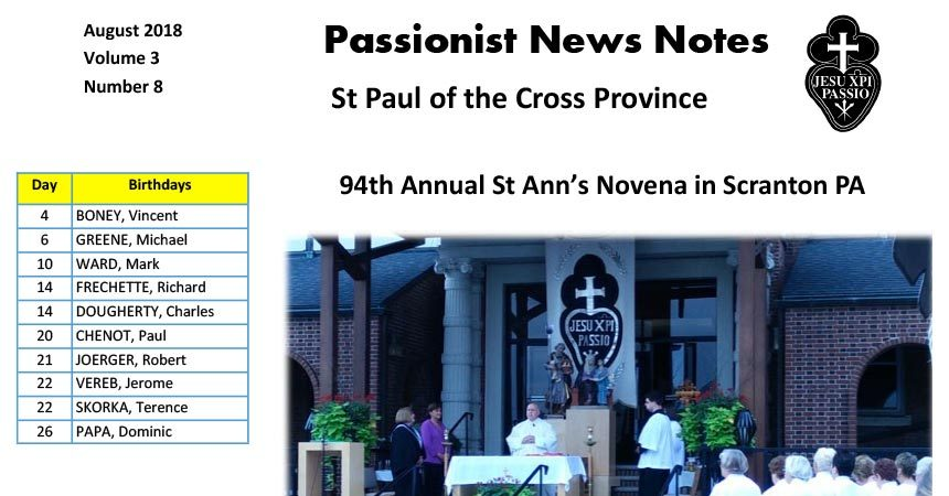 PASSIONIST NEWS NOTES<br>August 2018