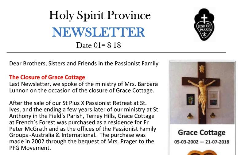 Holy Spirit Province NEWSLETTER<br>August 2018