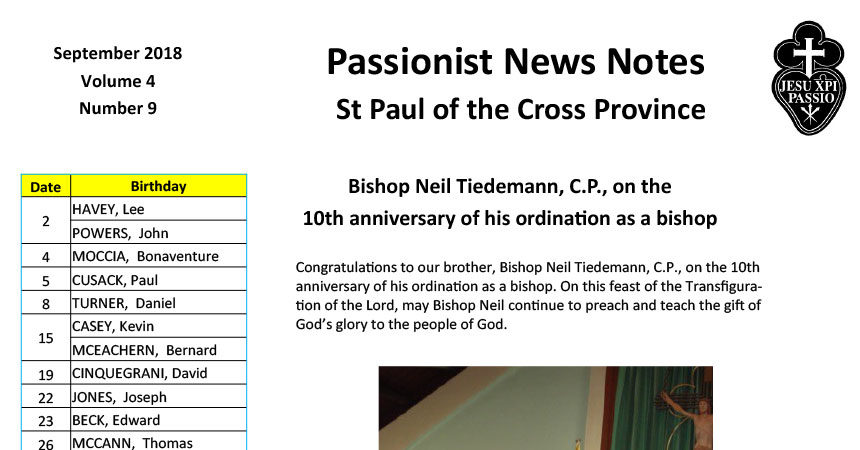 PASSIONIST NEWS NOTES September 2018