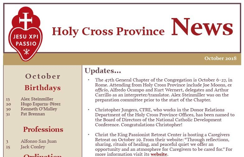 HOLY CROSS PROVINCE NEWSLETTER (CRUC-CJC)<br>October 2018