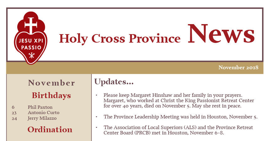 HOLY CROSS PROVINCE NEWSLETTER (CRUC-CJC) – November 2018