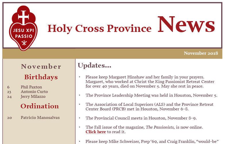HOLY CROSS PROVINCE NEWSLETTER (CRUC-CJC) – November 2018